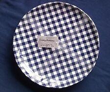NEW 4 Tommy Bahama Navy Blue White Gingham Checked Melamine Dinner Plates Picnic