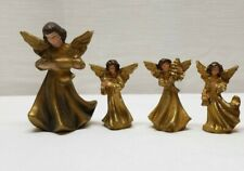 4 Vintage Christmas Holiday Decoration Angel Chalkware Figurines Gold Ornament