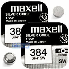 2 x MAXELL LR41 SR41SW Silver Oxide 384 Button Cell Watch Battery V384 1.55v