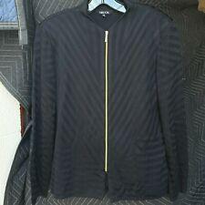 Misook Cardigan Sweater Womens M Black Geometric Full Zip V Neck Acrylic Knit