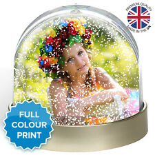 Personalised Photo Snow Globe Dome Glitter Shaker Ornament | Metallic Finish