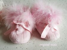 Baby Girls Pink Fluffy Knitted Boots Pram Shoes 9 - 12 months