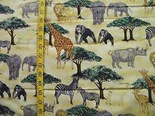 JUNGLE ANIMAL PRINT GIRAFFES ZEBRAS ELEPHANTS 100% COTTON FABRIC BY THE 1/2 YARD