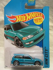 2014 Hot Wheels CUSTOM 1990 HONDA CIVIC EF Teal Blue HW City #30 Real Riders