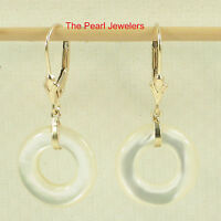 14k Yellow Solid Gold Lever Back Donut Shaped White Mother of Pearl Earrings TPJ
