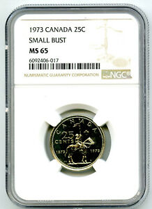 1873-1973 CANADA 25 CENT NGC MS65 SMALL BUST RCMP QUARTER RARE UNCIRCULATED