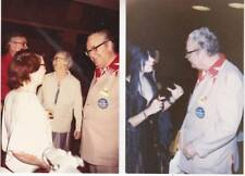 Two 4 x 6 photos of FORREST J ACKERMAN at a convention with Wendy & friends.