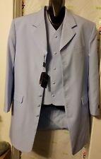 Milano Moda 3 pice Zoot Suit 100% Linen Seven Button Pleated Pants Vest 7903V