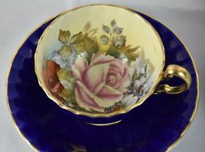 Rare Aynsley Blue Bailey Large England Teacup & Saucer Mint ZE