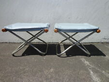 2 Takeshi Nii Japanese Stools Mid Century Modern Lounge Chair Ottoman Footrest