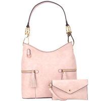 Dasein Women Handbag Faux Leather Hobo Shoulder Bag Bucket Satchel w/ Purse Set