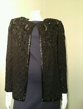 Papell Boutique Women's Jacket Silk Beaded Cardigan Top~ Size M