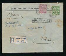 GB KE7 2d registrado 1912 tarifa tardía pagado en Caja 6d + 1/2d Downey.. suizo Bankverein