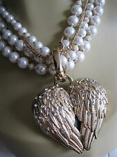 BETSEY JOHNSON HEAVEN SENT CRYSTAL WING HEART FAUX PEARL MULTI ROW NECKLACE~NWT