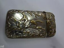 Vintage  Vesta Case Pocket Match Safe Horsemen Scene Beautiful Collectible G-852