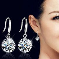1 Pair Fashion Women Elegant Silver Ear Hook Crystal Rhinestone Earrings Jewelry