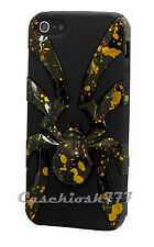 for iPhone 5 5s 3D spider case black gold hard & soft hybrid + screen protector