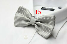 MENS Luxury 2 Layer GREY & WHITE Polka Dot Dickie Bow Tie Adjustable NEW