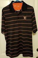 Antigua MLB Mens Houston Astros Embroidered Logo Polo Navy Striped Shirt Size L
