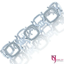 Women's Ladies  XOXO Link Bracelet 1.73 Ct Round Diamond 14k Solid White Gold