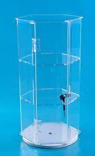 "24"" Acrylic Hexagonal Display | Locking Case | Tall Jewelry Display w/ 2 shelves"