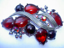 Rare VTG Schiaparelli Red Ruby AB Rhinestone Heart Teardrop Flower Brooch Pin