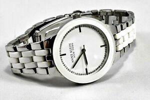 Anne Klein Pure White Resin Steel Bracelet Women Watch Crystal Dial New Battery