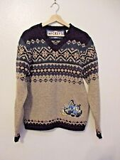 Disney S Sweater Gray Blue Mickey's Ski Lodge Nordic Fair Isle Goofy Donald Wool
