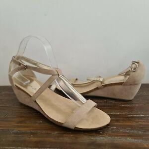 ANNE KLEIN AK iFlex womens size 9.5M beige wedge sandals open toe strappy