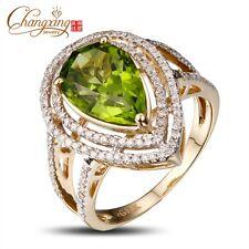 14k Yellow Gold 4.68ct Natural Peridot Pear Shape 0.5ct Diamond Engagement Ring