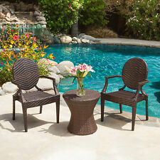 Brown 3 Piece Resin Wicker Bistro Patio Dining Set Outdoor Home Furniture Pool