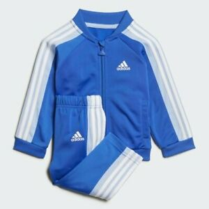 adidas blue infant 3 stripe polyester tracksuit. Ages 0-4 years.