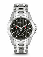Bulova Stainless Steel Bracelet Day Date Black Dial 43mm 96C107 Mens Watch