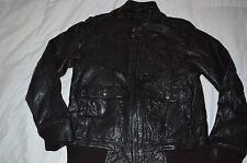 Authentic Energie Gold Bomber Leather Jacket Mens Size XL