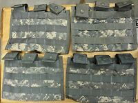 LOT OF 4 - US Military MOLLE  THREE MAG SIDE X SIDE POUCHES ACU DIGITAL CAMO