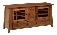 """QUICK SHIP Amish Mission McCoy TV Stand Cabinet Console Solid Wood 60"""" QSWO"""