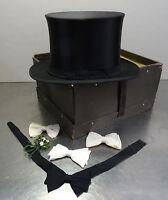 Antiker Hut + 4x Fliege Zylinderhut Top Hat Chapeau Claque Zylinder 57,5  ~1900