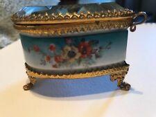 Antique Ormolu jewelry casket. heart shaped ring box floral porcelain silk inser