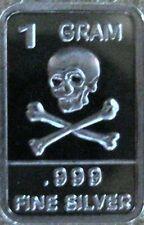 Best Junk drawer: 1 Gram .999 Pure/Solid Silver ArtBar, New/Mint: Skull N Bones