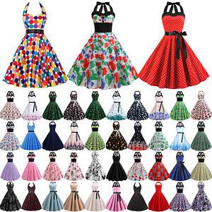 Women's 50s Halter Neck Rockabilly Retro Swing Evening Prom Party Midi Dress