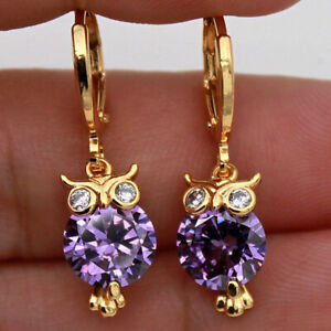 AMETHYST & DIAMOND 18K GOLD OWL EARRINGS DROP dangle.