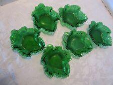 "Fire King ANCHOR HOCKING glass set 6 Forest Green Maple Leaf Bowls nut 6 ½""W Vtg"