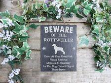 Divertente attenzione al cane Rottweiler ARDESIA porta, cancello, placca, segno