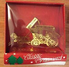"Brass  HORSE & CARRIAGE Western Christmas Ornament NIB 2.75""L"