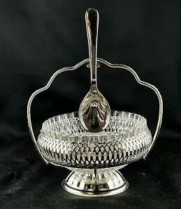 QUEEN ANNE 'Mayell' SILVER PLATED CLEAR GLASS SUGAR BOWL & SPOON IN ORIGINAL TRA