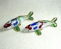 2 Japanese CARP KOI FISH handmade blown ART GLASS Gild figurine GIFT decoration