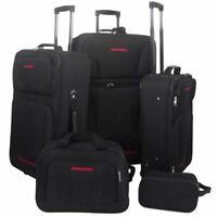 vidaXL 5 Piece Travel Luggage Set Black Case Bag Trolley Suitcase Organiser