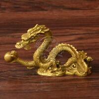 Chinese Folk Fengshui Brass Lucky Bead Zodiac Year golden Dragon Animal Statue