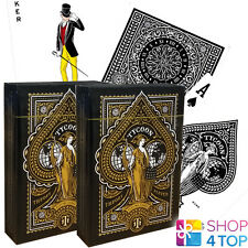 2 DECKS TYCOON BLACK THEORY 11 PLAYING CARDS GOLD MAGIC TRICKS SEALED USA NEW