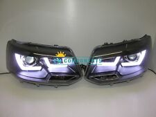 VW T5 Head Light Lamps Black LED DRL Light Bars Devil Eye 2010-On